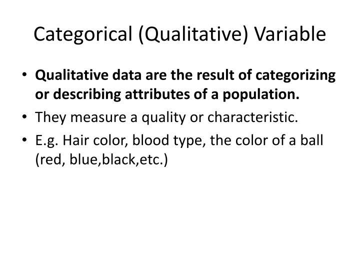 Categorical (Qualitative) Variable