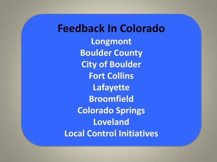 Feedback In Colorado