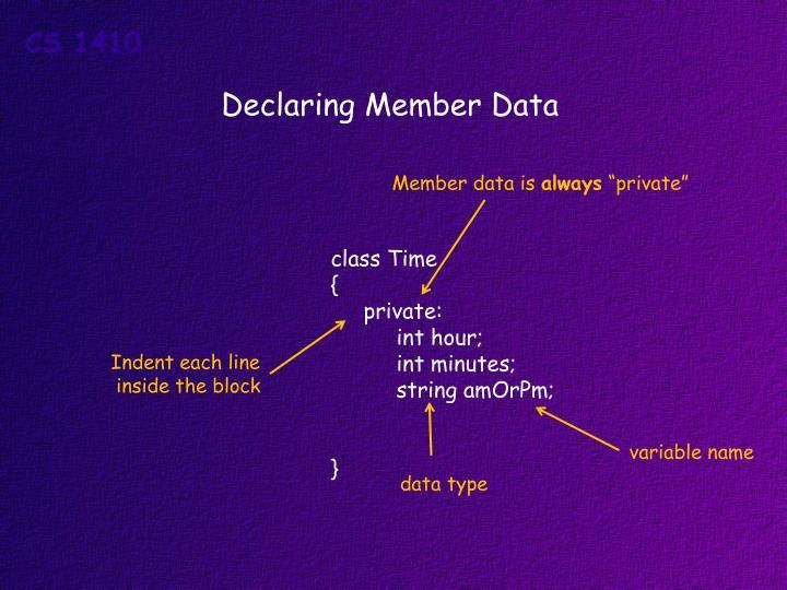 Declaring Member Data