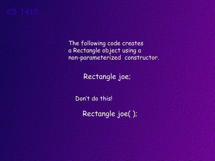 The following code creates
