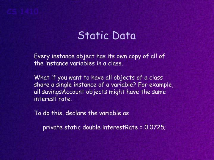 Static Data