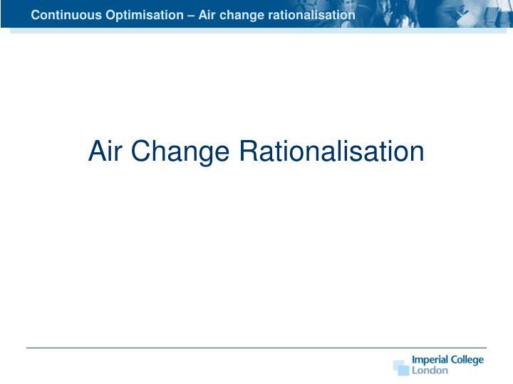 Continuous Optimisation – Air change rationalisation