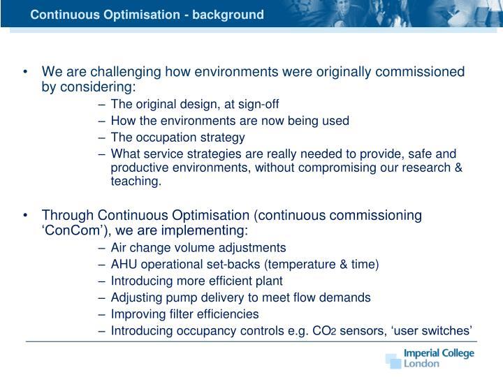 Continuous Optimisation - background
