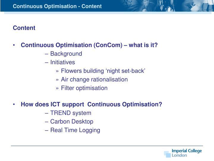Continuous Optimisation - Content