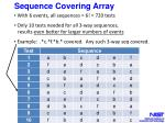 sequence covering array