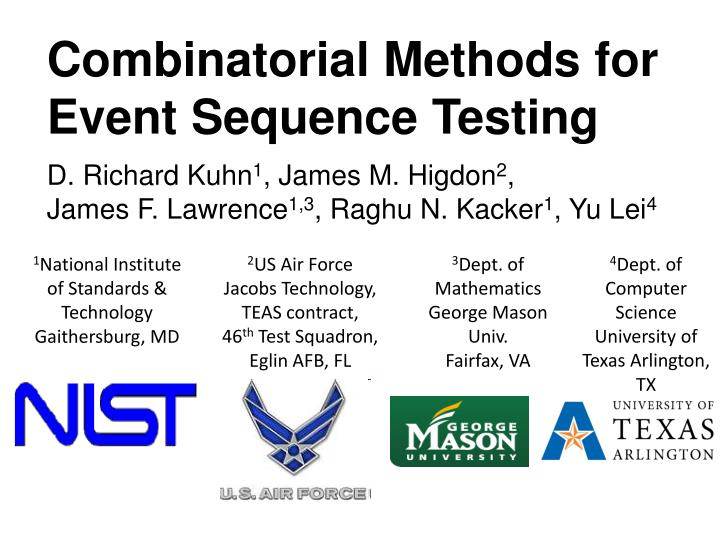 Combinatorial Methods for Event Sequence Testing