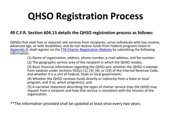 QHSO Registration Process