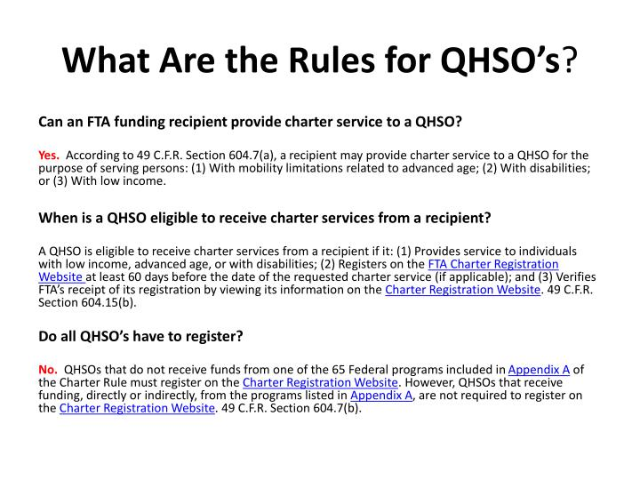 What Are the Rules for QHSO's