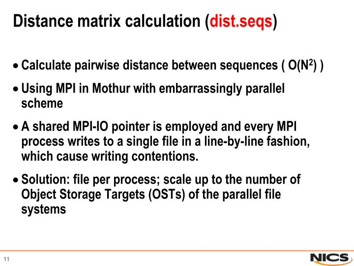 Distance matrix calculation (