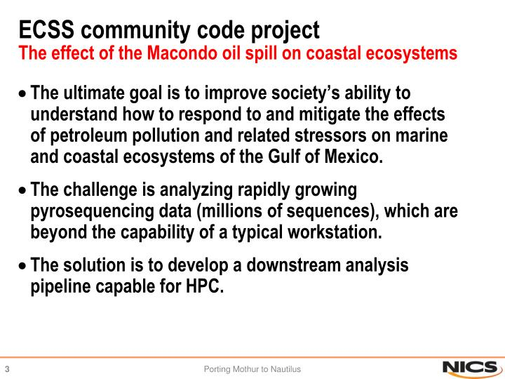 Ecss community code project the effect of the macondo oil spill on coastal ecosystems