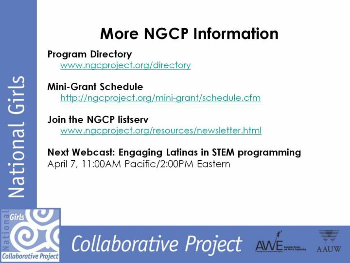 More NGCP Information