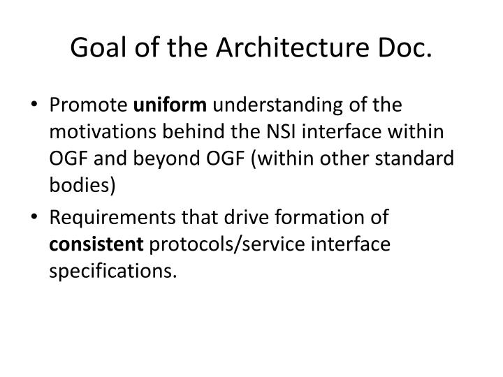 Goal of the architecture doc