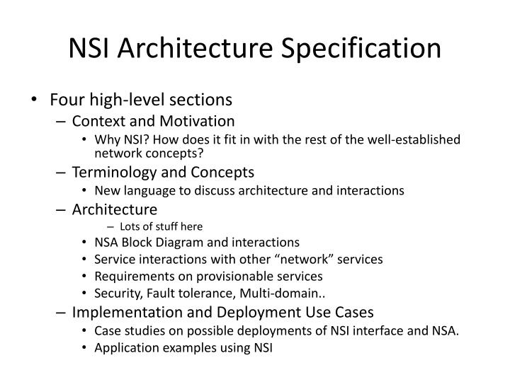 Nsi architecture specification