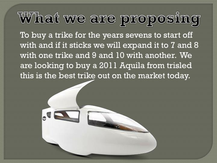 What we are proposing