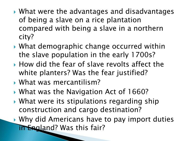 What were the advantages and disadvantages of being a slave on a rice plantation compared with being a slave in a northern city?