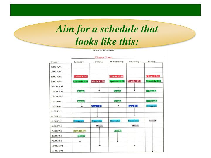 Aim for a schedule that