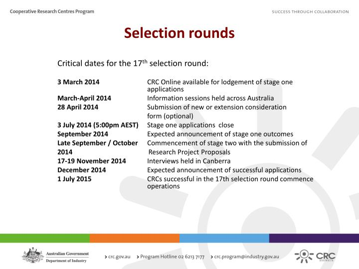 Selection rounds