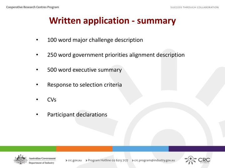 Written application - summary