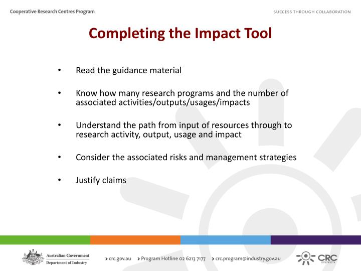 Completing the Impact Tool