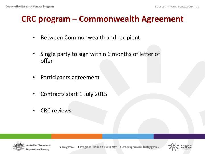 CRC program – Commonwealth Agreement