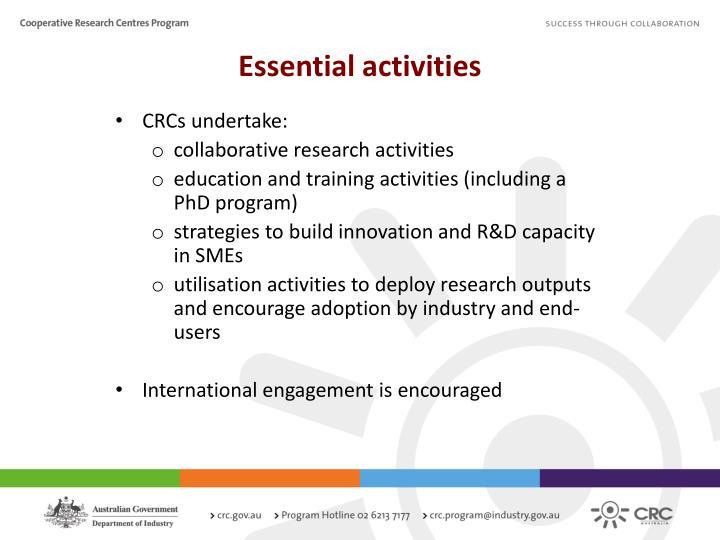 Essential activities