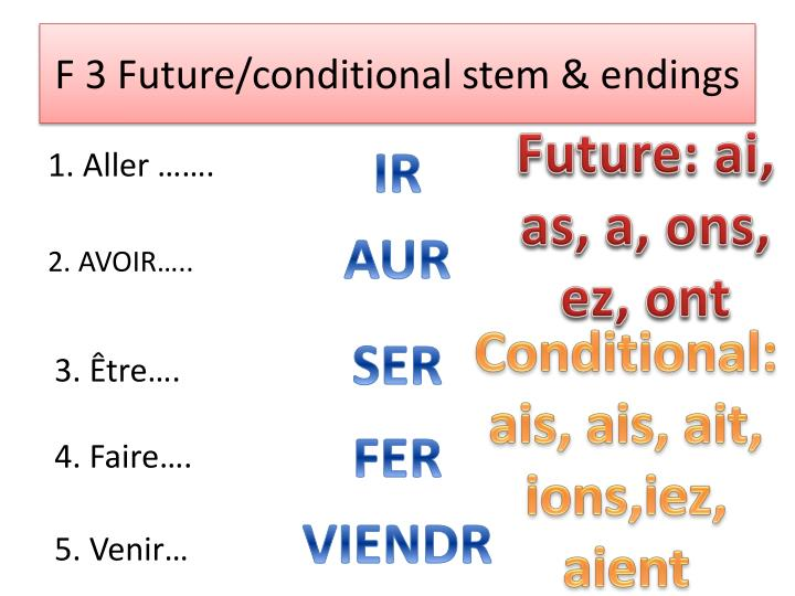 F 3 Future/conditional stem & endings