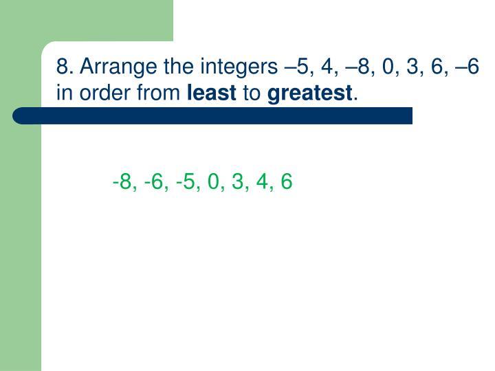 8. Arrange the integers –5, 4, –8, 0, 3, 6, –6