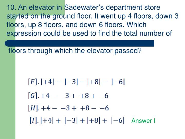10. An elevator in Sadewater's department store started on the ground floor. It went up 4 floors, down 3 floors, up 8 floors, and down 6 floors. Which expression could be used to find the total number of