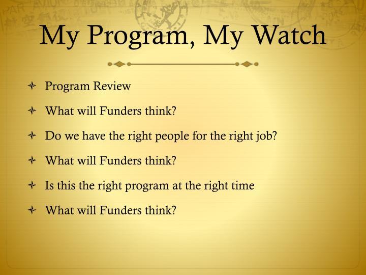 My Program, My Watch