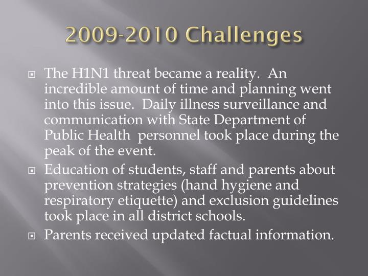 2009-2010 Challenges
