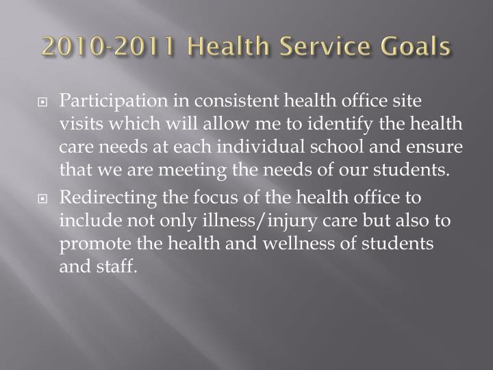 2010-2011 Health Service Goals