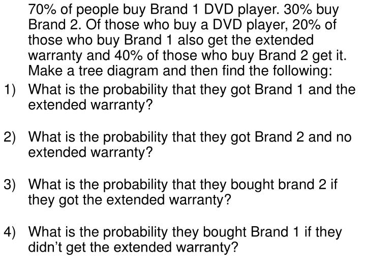 70% of people buy Brand 1 DVD player. 30% buy Brand 2. Of those who buy a DVD player, 20% of those who buy Brand 1 also get the extended warranty and 40% of those who buy Brand 2 get it. Make a tree diagram and then find the following: