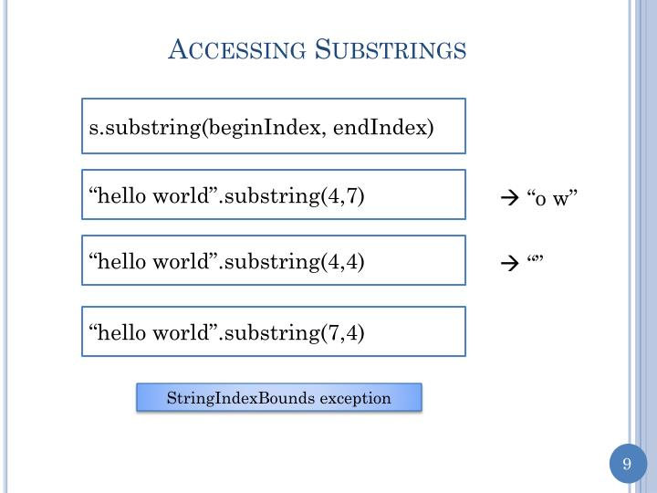 Accessing Substrings