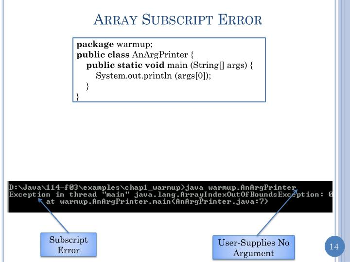 Array Subscript Error