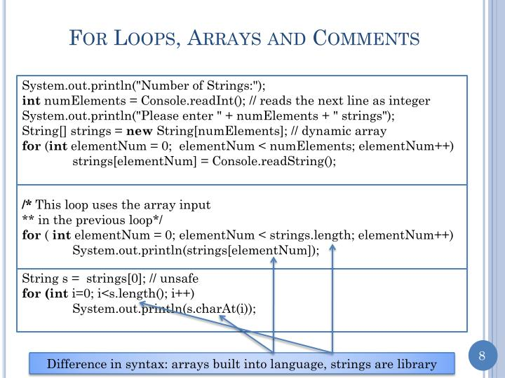 For Loops, Arrays and Comments