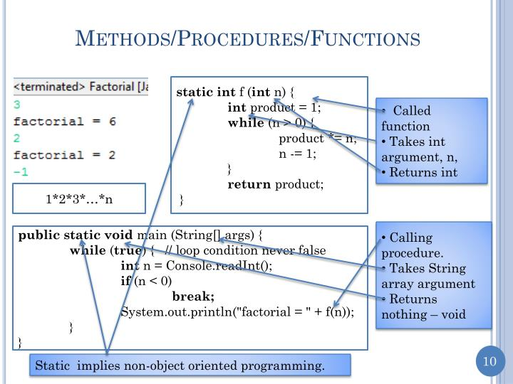 Methods/Procedures/Functions