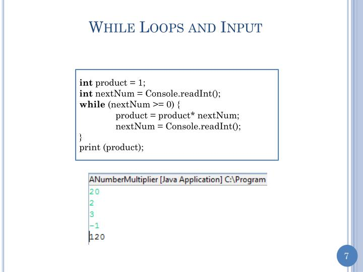 While Loops and Input