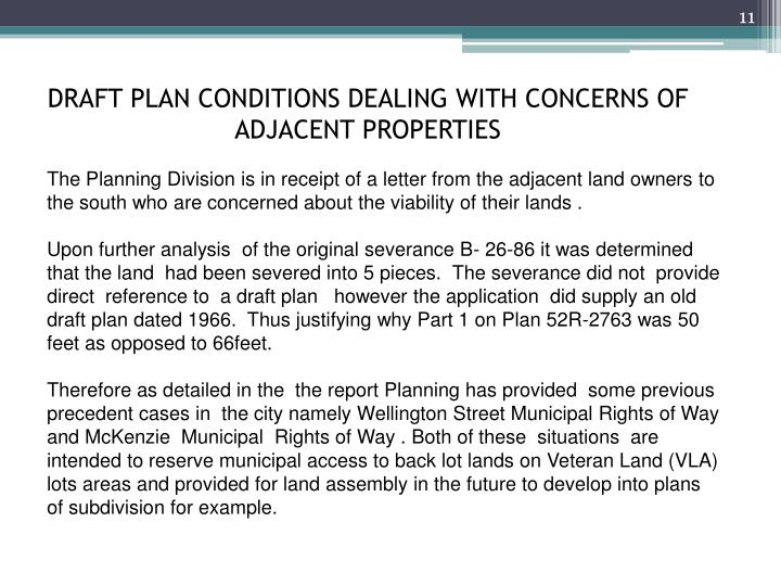 DRAFT PLAN CONDITIONS DEALING WITH CONCERNS OF ADJACENT PROPERTIES