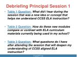 debriefing principal session 11