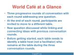 world caf at a glance