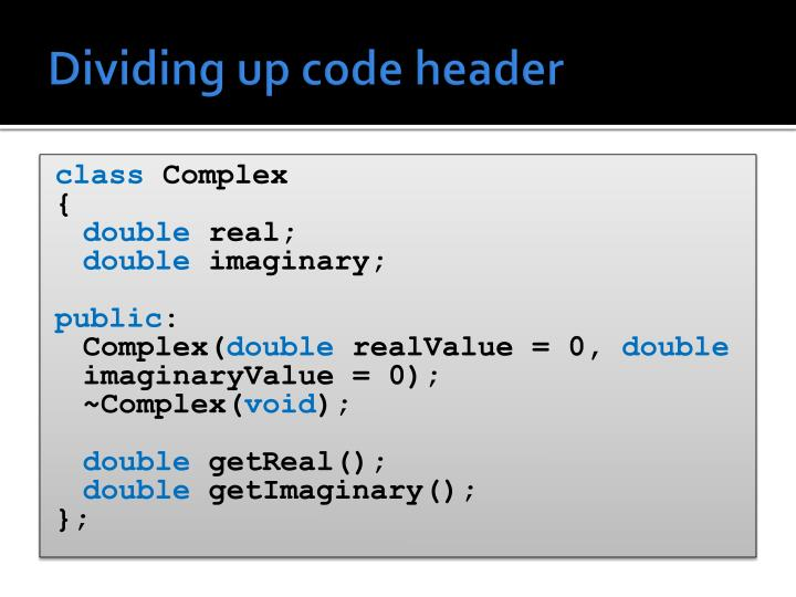 Dividing up code header
