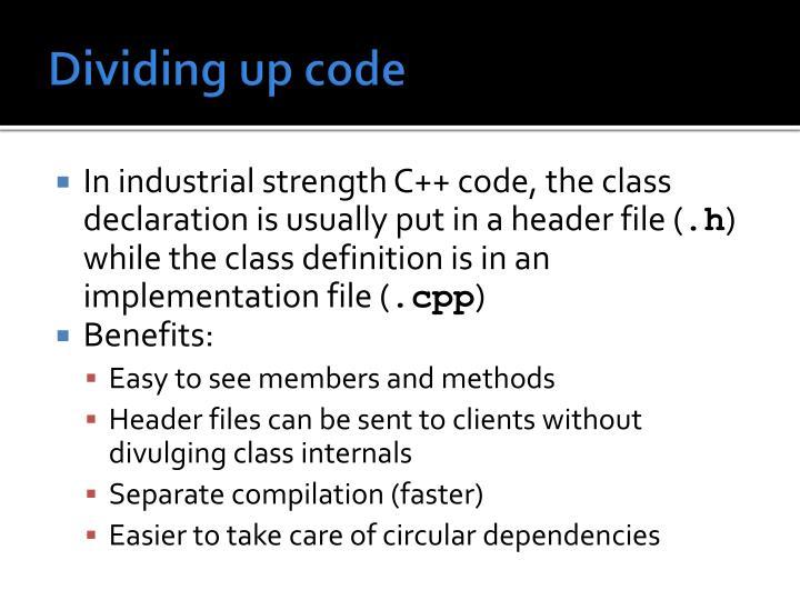 Dividing up code