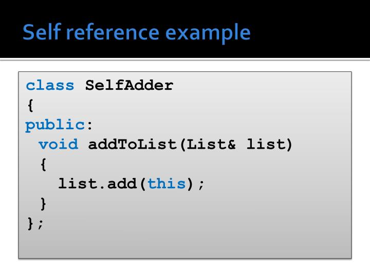 Self reference example