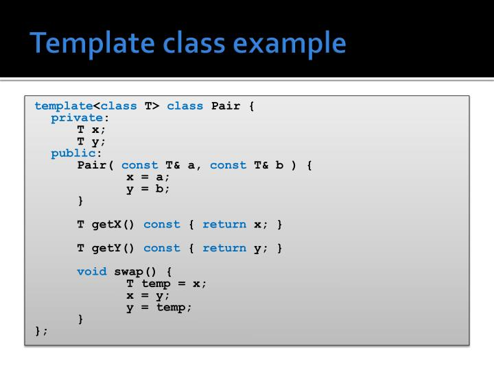 Template class example