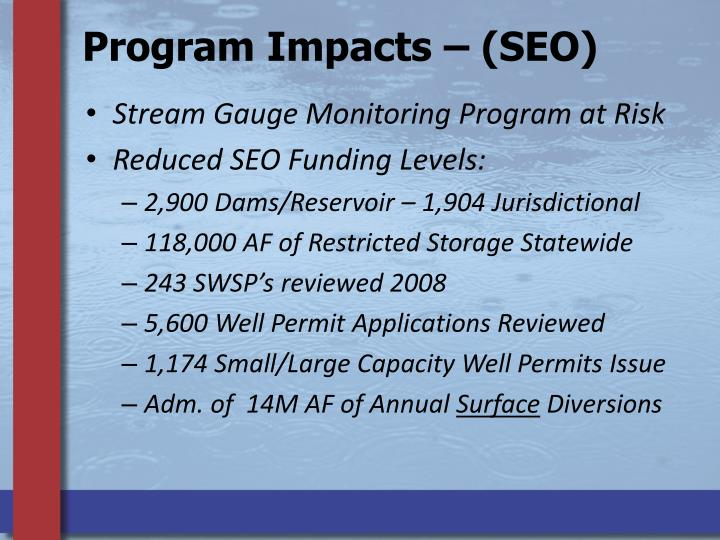 Program Impacts – (SEO)