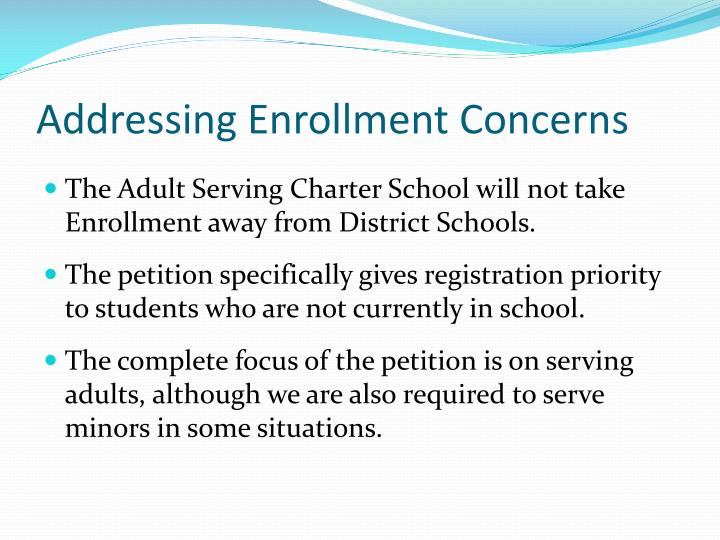 Addressing Enrollment Concerns
