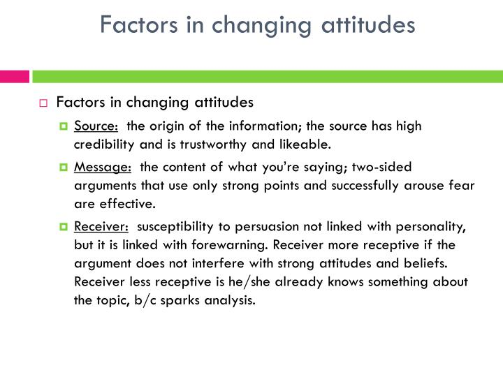 Factors in changing attitudes