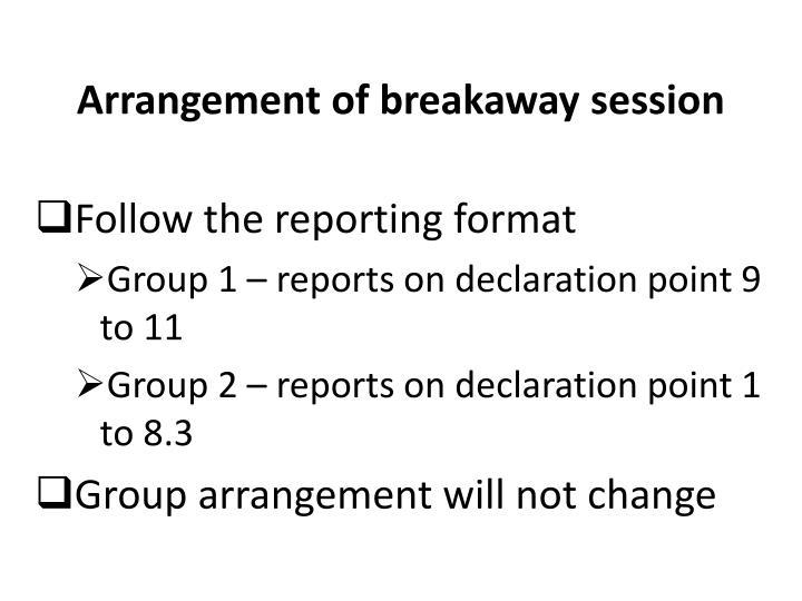 Arrangement of breakaway session