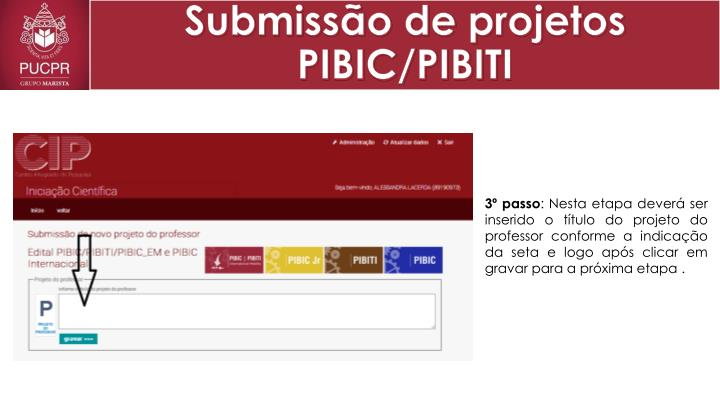 Submissão de projetos PIBIC/PIBITI