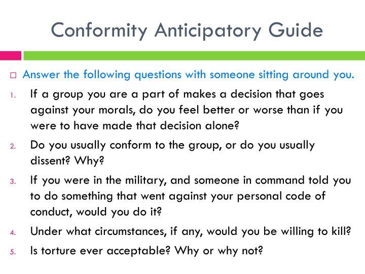 Conformity Anticipatory Guide